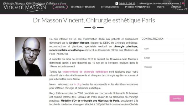 Dr Masson Vincent : chirurgien esthétique à Paris